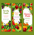 banners with fresh tropical exotic fruits vector image vector image