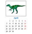 Calendar with dinosaur vector image