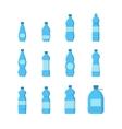 Cartoon Plastic Blue Bottles for Water Set vector image vector image