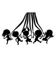 cartoon silhouettes children with ribbons vector image