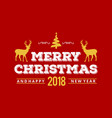christmas greetings card with red background vector image
