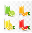 citrus juice in glass orange lime grapefruit vector image vector image