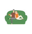 couple sitting and cuddling on sofa at home vector image vector image