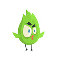 cute little green funny angry chick bird standing vector image vector image