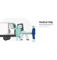 first aid doctors helping patient medical worker vector image vector image
