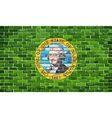 Flag of Washington on a brick wall vector image vector image