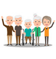 Group of elderly people stand together health