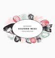 hand drawn fish and shellfish sketches with herbs vector image vector image