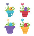 happy egg in style kawaii in garden pot with grass vector image vector image
