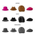 headgear and cap sign set vector image vector image