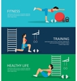 Healthy Life Horizontal Banners Set vector image vector image