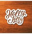 Holly Jolly text on label Christmas greeting card vector image vector image