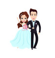 husband and wife groom and bride wedding vector image vector image