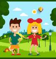 kids in park flat design scene vector image vector image