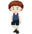 little boy in blue vest and shorts vector image vector image