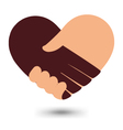 Love Handshake With Heart Shape Design vector image