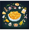 macaroni and cheese dish with ingredients vector image vector image