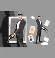 male spy with handgun vector image vector image