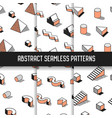 memphis style abstract seamless patterns set vector image