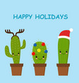 merry christmas card cactus in a christmas hat vector image vector image