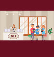 milk seller in shop dairy product presentation vector image