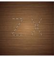 modern staples alphabet on wooden vector image vector image