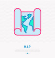 paper world map thin line icon vector image