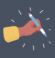 pencil in hand isolated on dark background vector image vector image