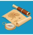 pirate treasure map on a ruined old parchment vector image
