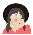 portrait a girl in sunglasses vector image vector image