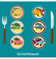 set fish dishes vector image vector image
