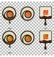 set of 6 slices sushi rolls logotypes vector image