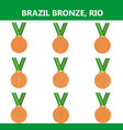 set of bronze medals icons brazil summer vector image vector image