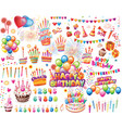 set of elements for birthday party vector image vector image