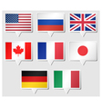 Set of G8 flags as speech rectangle stickers vector image vector image