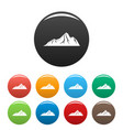 tall mountain icons set color vector image vector image
