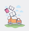 truck box with commercial icons vector image vector image