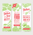 vintage italian food vertical banners vector image vector image
