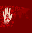 world aids day design of red ribbon on hand vector image