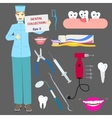 Dental collection with doctor and tools vector image