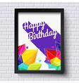 Abstract Happy Birthday card Black frame on brick vector image