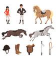 cartoon jockey icons set with professional vector image