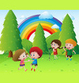 children singing and dancing in park vector image