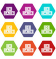 abc cubes icon set color hexahedron vector image vector image