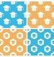 Academic cap pattern set colored vector image