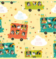 animals seamless pattern traveling by bus vector image vector image