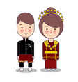 bengkulu couple traditional national clothes of vector image vector image