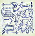 big set of arrow doodle vector image vector image