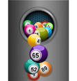 bingo balls falling from a metallic ring vector image vector image