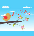 bird with spring tree vector image vector image